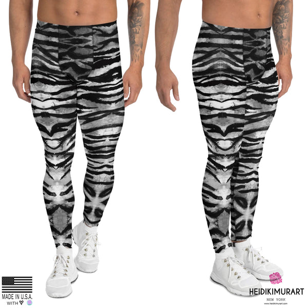 Grey Tiger Stripe Men's Leggings, Tiger Animal Print Sexy Meggings Men's Workout Gym Tights Leggings, Men's Compression Tights Pants - Made in USA/ EU (US Size: XS-3XL)