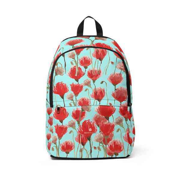 Reina Blue Red Poppy Flower Floral Print Unisex Fabric Backpack School Bag w/ Laptop Slot