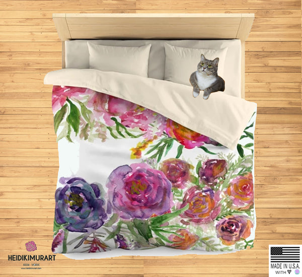 Mixed Summer Floral Pattern Green Queen Size or Twin Size Microfiber Duvet Cover-Duvet Cover-Heidi Kimura Art LLC