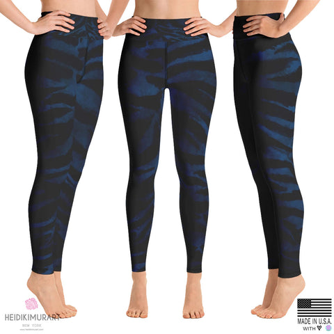 Blue Tiger Striped Leggings, Women's Black & Blue Tiger Stripe Animal Skin Pattern, Animal Print Sexy Designer Premium Quality Active Wear Fitted Leggings Sports Long Yoga & Barre Pants - Made in USA/EU/MX