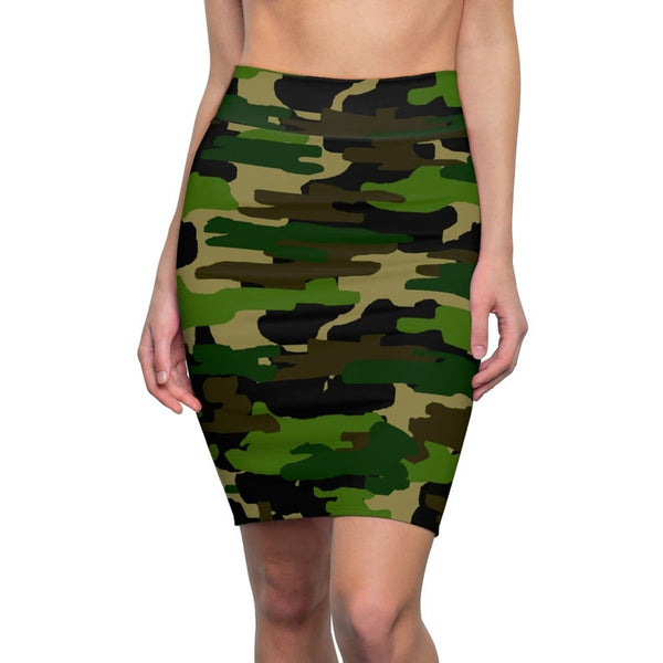 Green Camouflage Military Army Print Women's Pencil Skirt-Made in USA (Size XS-2XL)-Pencil Skirt-L-4 oz.-Heidi Kimura Art LLC