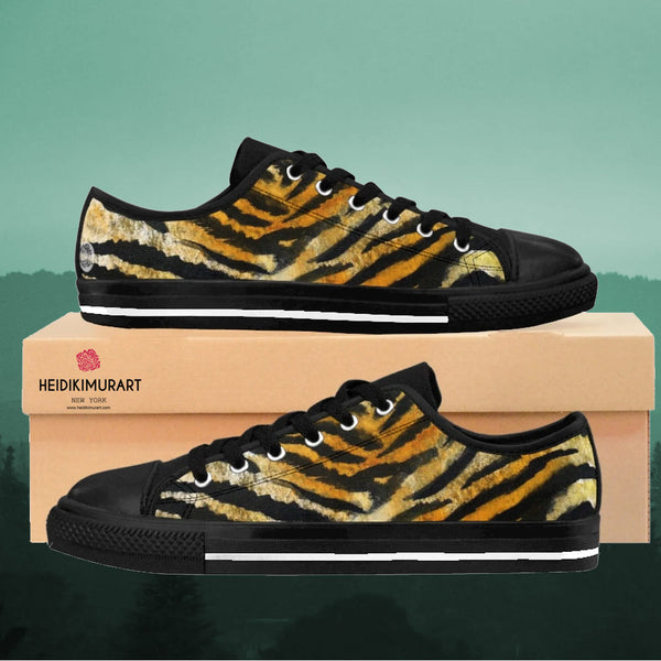 Brown Tiger Striped Men's Low Tops, Bengal Tiger Striped Animal Skin Pattern Fashionable Designer Men's Low Top Sneakers Shoes (US Size: 7-14)