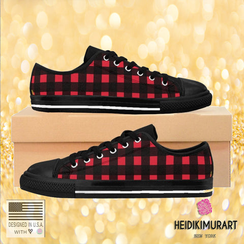 Designer Buffalo Red Plaid Print Women's Sneakers Casual Running Shoes-Women's Low Top Sneakers-Heidi Kimura Art LLCBuffalo Red Women's Sneakers, Designer Plaid Print Women's Casual Running Tennis Shoes (US Size: 6-12)