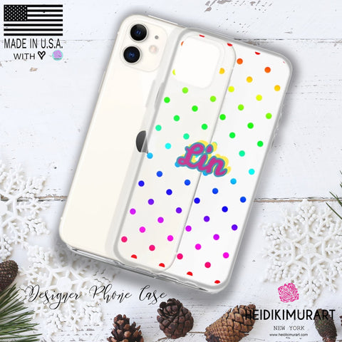 Custom Name Rainbow Polka Dots Print iPhone Case-Made in USA-Phone Case-Heidi Kimura Art LLC