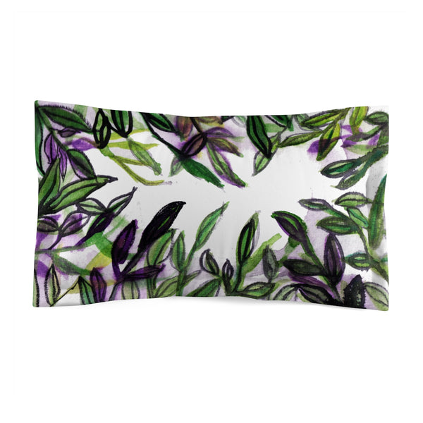 Sparkle Green Tropical Leaves Print Premium Quality Microfiber Pillow Sham Cover-Pillow Sham-King-Heidi Kimura Art LLC