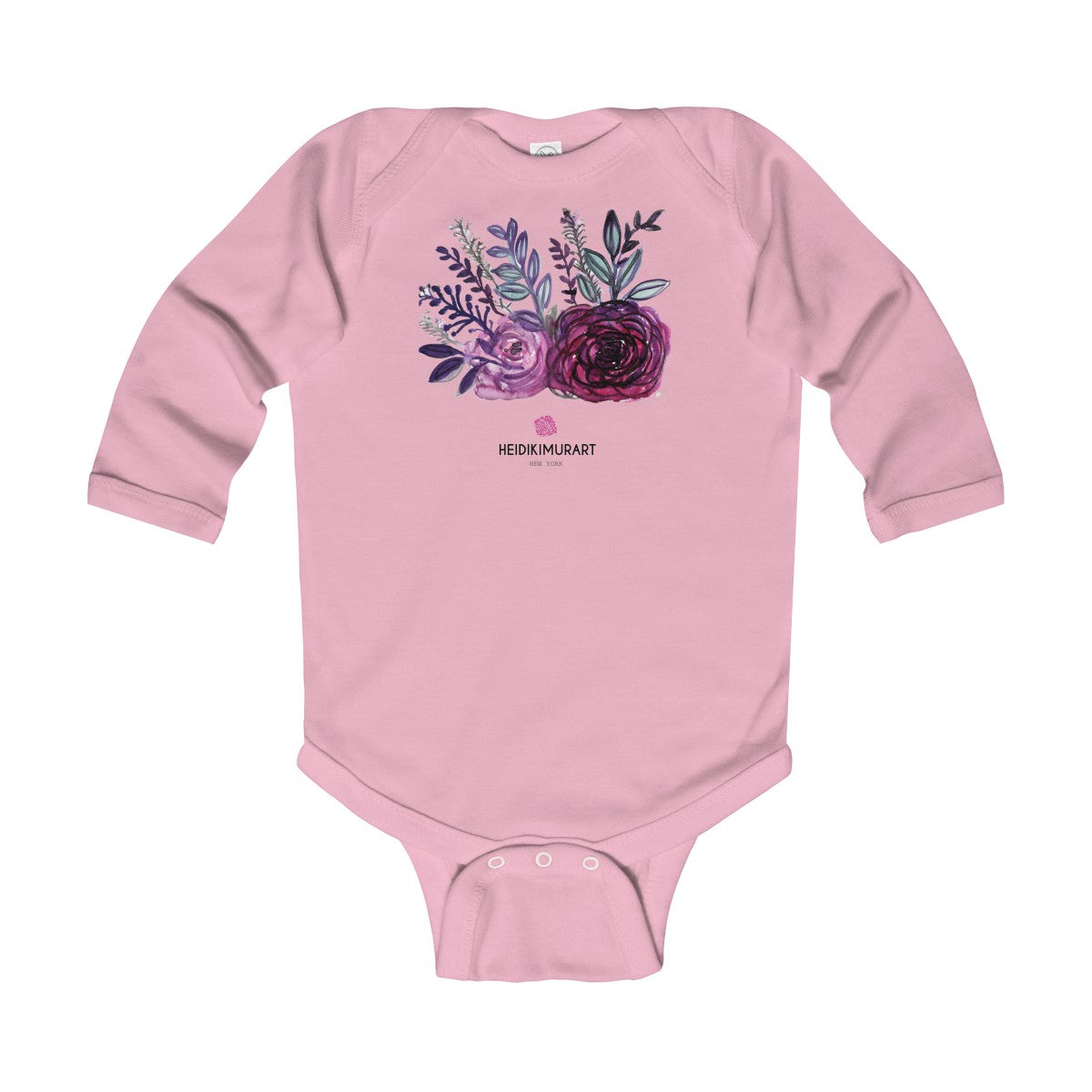 Floral Rose Print Infant Long Sleeve Bodysuit - Made in United Kingdom (Size: 6M-24M)-Kids clothes-Pink-18M-Heidi Kimura Art LLC