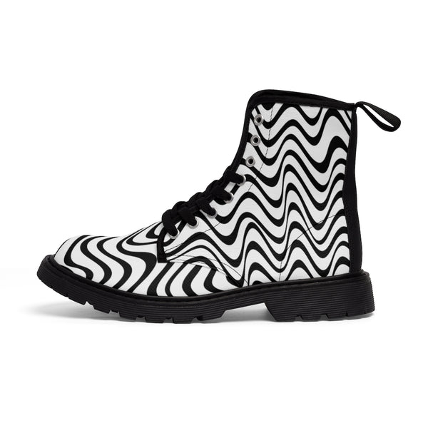 Wavy Print Men's Boots, Black White Best Hiking Winter Boots Laced Up Shoes For Men-Men's Boots-Printify-ArtsAdd-Heidi Kimura Art LLC