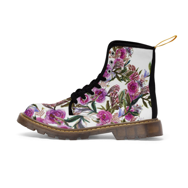 Vintage Style Pink Rose Floral Print Designer Women's Winter Lace-up Toe Cap Boots-Women's Boots-Heidi Kimura Art LLC
