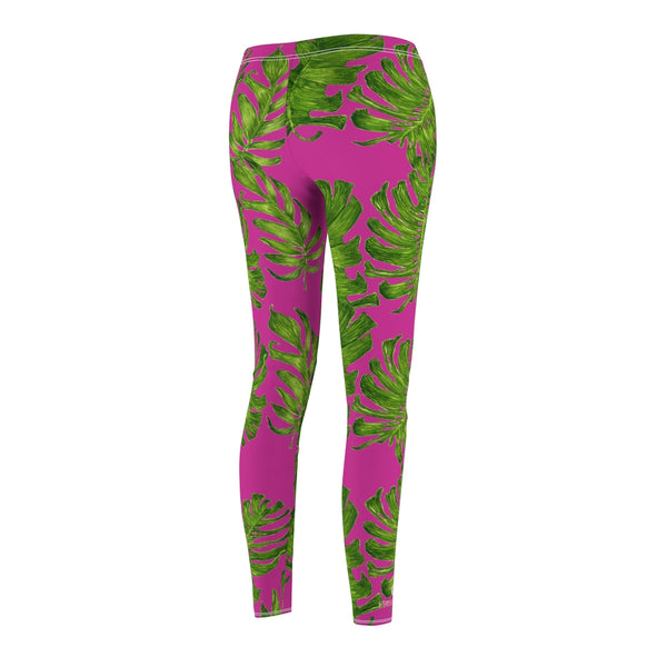 Hot Pink Green Tropical Leaf Print Women's Dressy Long Casual Leggings- Made in USA-Casual Leggings-Heidi Kimura Art LLC