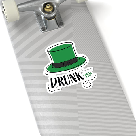 "Funny Green Irish Hat Drunkish Print St. Patrick's Day Kiss-Cut Stickers- Made in USA-Kiss-Cut Stickers-6x6""-White-Heidi Kimura Art LLC"