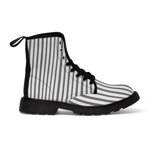 Grey Striped Print Men's Boots, White Stripes Best Hiking Winter Boots Laced Up Shoes For Men-Shoes-Printify-Black-US 7-Heidi Kimura Art LLC Grey Striped Print Men's Boots, Grey White Stripes Men's Canvas Hiking Winter Boots, Fashionable Modern Minimalist Best Anti Heat + Moisture Designer Comfortable Stylish Men's Winter Hiking Boots Shoes For Men (US Size: 7-10.5)