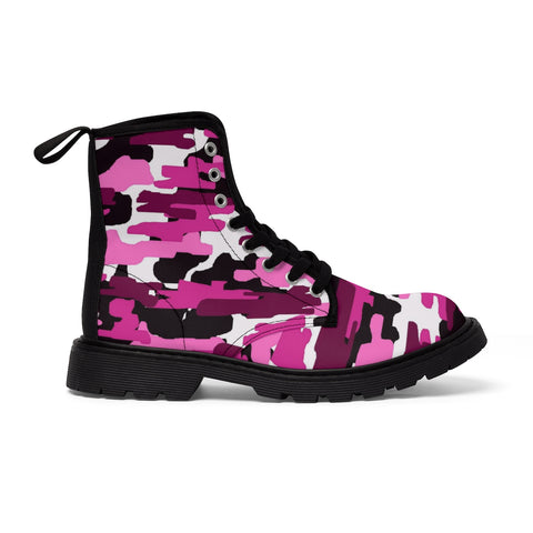 Purple Pink Camouflage Military Army Print Men's Canvas Winter Laced Up Boots-Men's Boots-Black-US 9-Heidi Kimura Art LLC Purple Pink Camo Men's Boots, Purple Pink Camouflage Military Army Print Men's Canvas Winter Laced Up Boots Anti Heat + Moisture Designer Best Men's Winter Boots (US Size: 7-10.5)