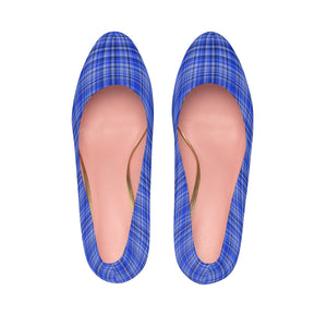 Scottish Blue Tartan Plaid Print Women's Platform Heels Stiletto Pumps (US Size: 5-11)-4 inch Heels-US 7-Heidi Kimura Art LLC