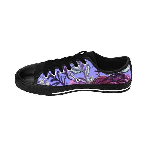 Romantic Purple Rose Floral Print Designer Women's Fashion Sneakers (US Size: 6-12)-Women's Low Top Sneakers-Heidi Kimura Art LLC Purple Rose Women's Sneakers, Romantic Purple Rose Floral Print Designer Women's Sneakers, Tennis Low Tops, Tennis Shoes, Trainers, Best Floral Sneakers, Women's Low-top Sneakers, Floral Print Shoes, Floral Women's Low Top Tennis Running Casual Fashion Sneakers Shoes (US Size 6-12)