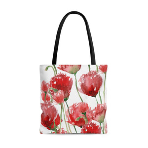 White Pacific Northwest Red Tulip Flower Floral Print Designer Tote Bag - Made in USA-Tote Bag-Large-Heidi Kimura Art LLC