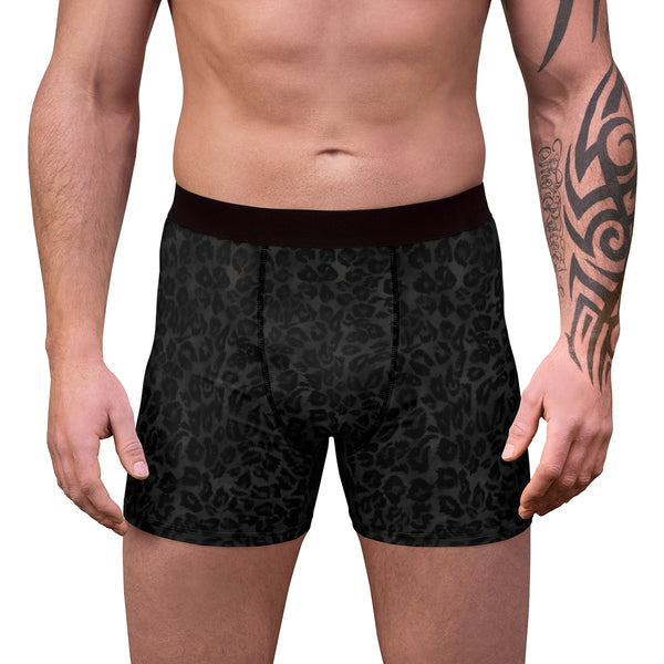 Black Leopard Wild Animal Print Sexy Hot Men's Boxer Briefs Underwear(US Size: XS-3XL)-Men's Underwear-Heidi Kimura Art LLC