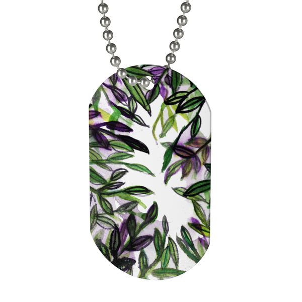 tropical leaves green purple dog tag Kameon Long Lasting Tropical Leaves Dog Tag Pet Accessories - Made in USA