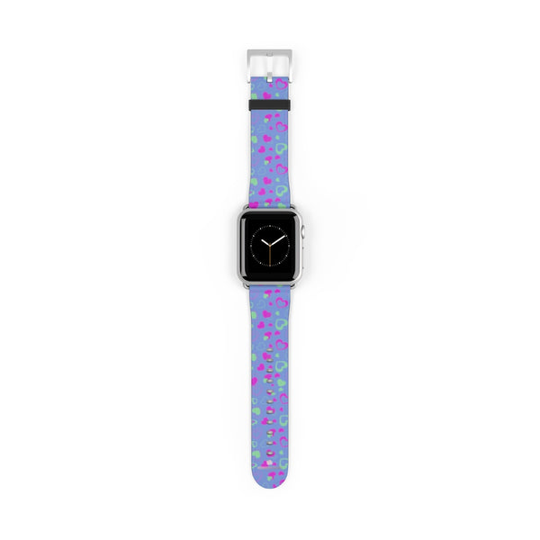 Light Violet Purple Pink Hearts 38mm/42mm Watch Band For Apple Watch- Made in USA-Watch Band-38 mm-Silver Matte-Heidi Kimura Art LLC