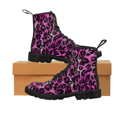 Pink Leopard Men's Boots, Best Hiking Winter Boots Laced Up Shoes For Men-Shoes-Printify-Black-US 9-Heidi Kimura Art LLC Pink Leopard Men's Boots, Best Luxury Premium Quality Unique Animal Print Designer Men's Lace-Up Winter Boots Men's Shoes (US Size: 7-10.5)