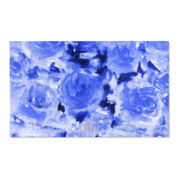 "Blue Abstract Rose Floral Print Designer 24x36, 36x60, 48x72 inches Area Rugs - Printed in USA-Area Rug-60"" x 36""-Heidi Kimura Art LLC"