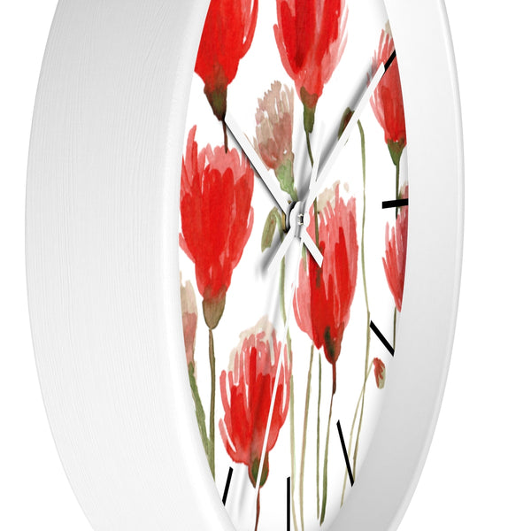 Orange Red Tulips Floral Print 10 inch Diameter Flower Large Wall Clock- Made in USA-Wall Clock-Heidi Kimura Art LLC
