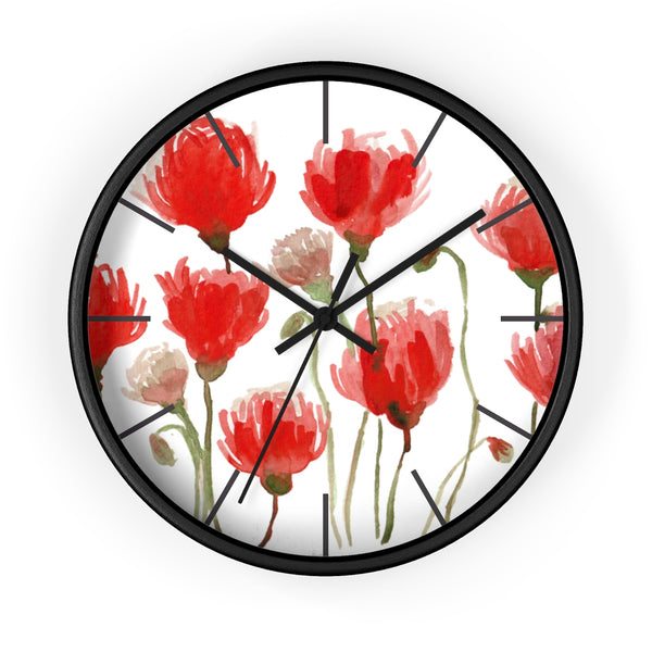 Orange Red Tulips Floral Print Large 10 inch Diameter Flower Wall Clock - Made in USA-Wall Clock-Black-Black-Heidi Kimura Art LLC