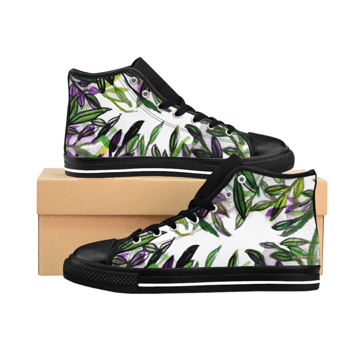 Green Tropical Leaf Print Designer Men's High-top Sneakers Tennis Running Shoes-Men's High Top Sneakers-Black-US 9-Heidi Kimura Art LLC Green Tropical Leaf Men's Sneakers, Green Tropical Leaf Print Designer Men's High-top Sneakers Running Tennis Shoes, Floral High Tops, Mens Floral Shoes, Hawaiian Floral Print Sneakers  (US Size: 6-14)