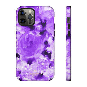 Purple Floral Rose Phone Case, Roses Floral Print Tough Designer Phone Case -Made in USA-Phone Case-Printify-iPhone 12 Pro-Glossy-Heidi Kimura Art LLC