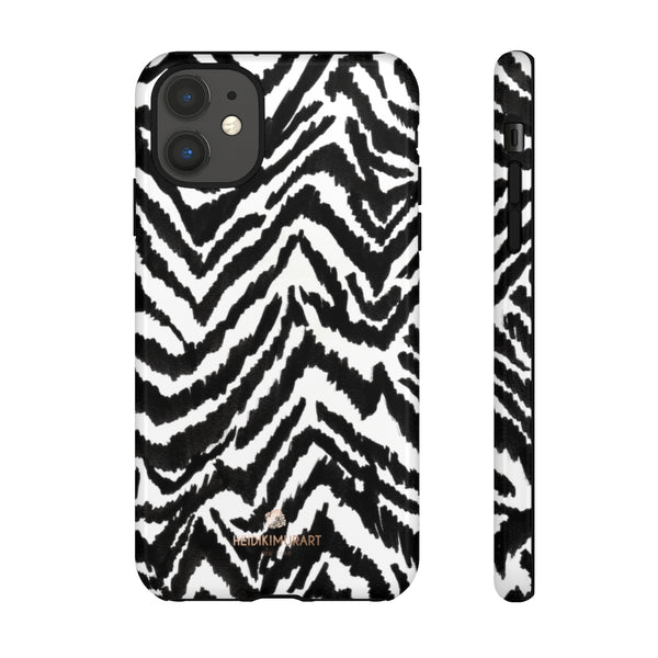 White Tiger Stripe Phone Case, Animal Print Best Tough Designer Phone Case -Made in USA-Phone Case-Printify-iPhone 11-Glossy-Heidi Kimura Art LLC