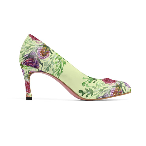 "Light Yellow Floral Women's 3"" Bridal Wedding High Heels Shoes (US Size: 5-11)-3 inch Heels-Heidi Kimura Art LLC"