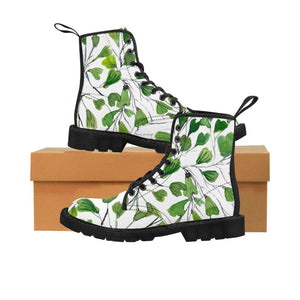 Green Maidenhair Women's Canvas Boots, Tropical Fern Print Winter Boots For Ladies-Shoes-Printify-Black-US 9-Heidi Kimura Art LLC Green Maidenhair Women's Canvas Boots, Tropical Fern Print Designer Women's Winter Lace-up Toe Cap Boots Shoes For Women   (US Size 6.5-11)