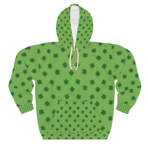 Light Green Clover St. Patrick's Day Unisex Pullover Hoodie For Men/ Women- Made in USA-Unisex Hoodie-2XL-Heidi Kimura Art LLC