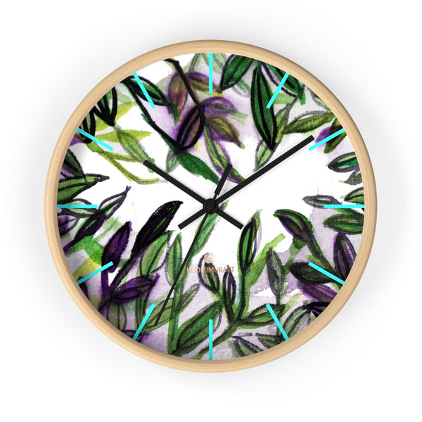 Green Purple Tropical Leaf Print Designer 10 in. Dia. Indoor Wall Clock- Made in USA-Wall Clock-10 in-Wooden-Black-Heidi Kimura Art LLC