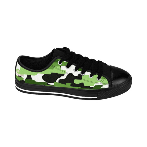 Green White Camo Army Military Print Premium Men's Low Top Canvas Sneakers Shoes-Men's Low Top Sneakers-Heidi Kimura Art LLC Green White Men's Sneakers, Camouflage White Green Military Army Print Designer Men's Running Low Top Sneakers Shoes, Men's Designer Camo Print Tennis Shoes (US Size 7-14)