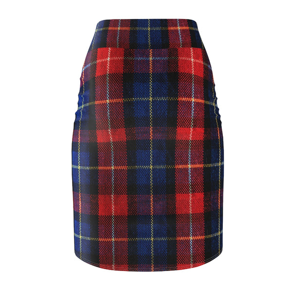 Red Blue Plaid Scottish Tartan Print Designer Women's Pencil Skirt - Made in USA-Pencil Skirt-Heidi Kimura Art LLC