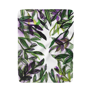 "Green Purple Tropical Green Leaves Print 50""x60"" Large Sherpa Fleece Blanket-Made in USA-Blanket-50x60-Heidi Kimura Art LLC"