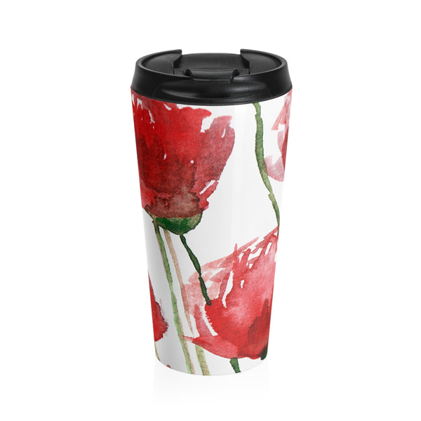 Red Poppy Floral Print Designer Durable Stainless Steel 15 oz Travel Mug- Made in USA endurance Durable Stainless Steel Travel Mug - Heidi Kimura Art LLC