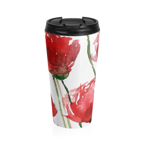 Red Poppy Floral Print Designer Durable Stainless Steel 15 oz Travel Mug- Made in USA-Mug-Travel Mug-Heidi Kimura Art LLC