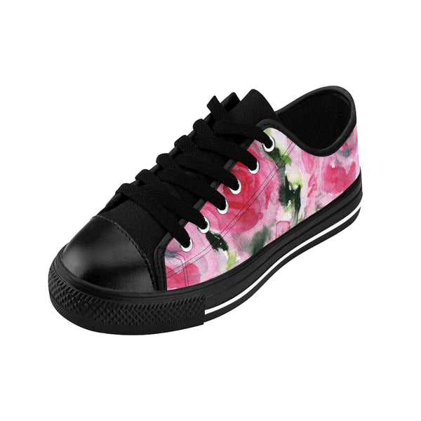 Pink Garden Fairy Rose Floral Designer Low Top Women's Sneakers Shoes (US Size 6-12)-Women's Low Top Sneakers-Heidi Kimura Art LLC