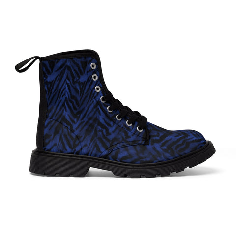 Blue Tiger Stripe Men's Boots, Animal Print Best Designer Fashionable Combat Work Hunting Boots, Anti Heat + Moisture Designer Men's Winter Boots Hiking Shoes (US Size: 7-10.5)