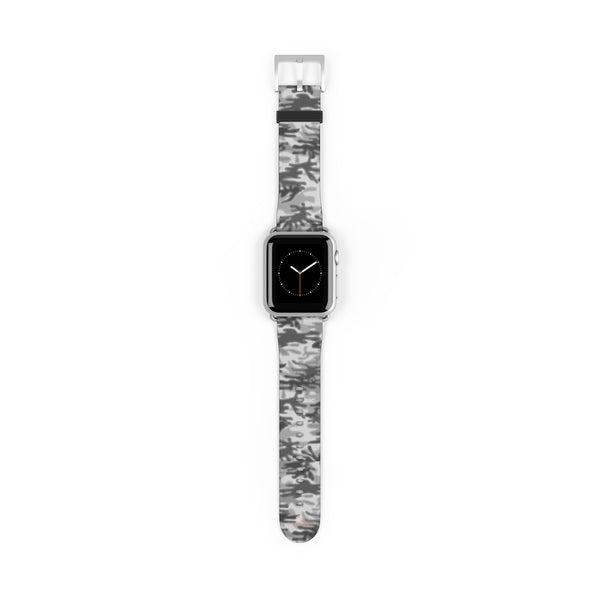 Light Grey Classic Camo Print 38mm/42mm Watch Band For Apple Watch- Made in USA-Watch Band-38 mm-Silver Matte-Heidi Kimura Art LLC