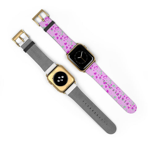 Cute Girlie Pink Hearts Shaped 38mm/42mm Watch Band For Apple Watch- Made in USA-Watch Band-Heidi Kimura Art LLC