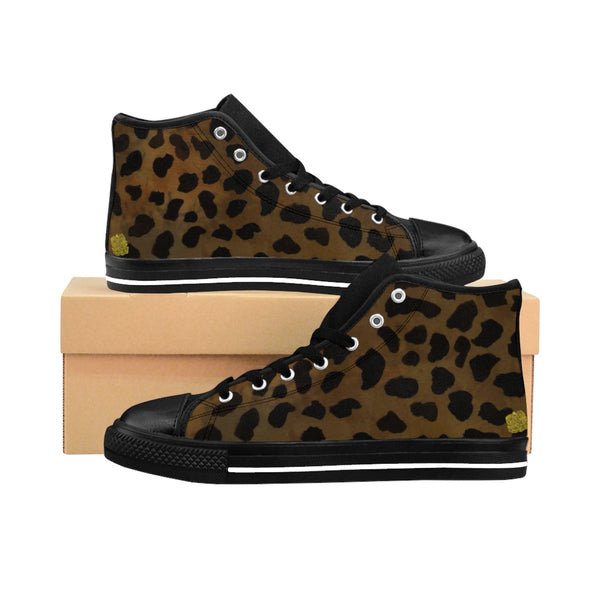 Brown Leopard Animal Print Premium Lightweight Women's High-top Fashion Sneakers-Women's High Top Sneakers-Black-US 9-Heidi Kimura Art LLC