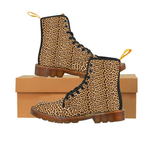 Brown Leopard Women's Canvas Boots, Best Leopard Animal Print Winter Boots For Ladies-Shoes-Printify-Brown-US 9-Heidi Kimura Art LLC Brown Leopard Women's Canvas Boots, Best Leopard Animal Print Casual Fashion Gifts, Leopard Shoes For Animal Big Cat Lovers, Combat Boots, Designer Women's Winter Lace-up Toe Cap Hiking Boots Shoes For Women (US Size 6.5-11)