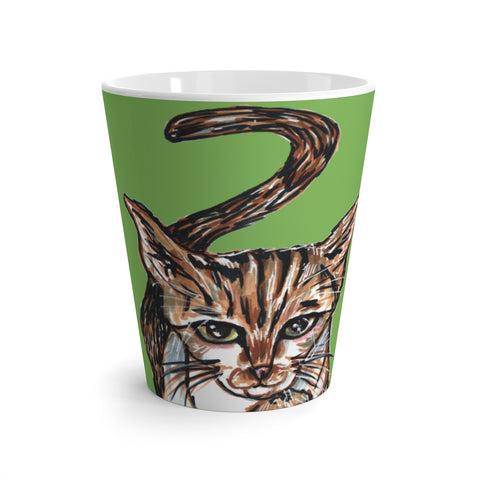 Light Green Cat Mug, Cute Cat 12 oz Latte Mug, Peanut Meow Cat Best White Ceramic Coffee Cup, Ceramic Latte Mug, Microwave-Safe, Dishwasher-Safe Tea Coffee Cup -Printed in USA, Cat Coffee Mug, Best Cat Mugs, Great Gifts For Cat Lovers