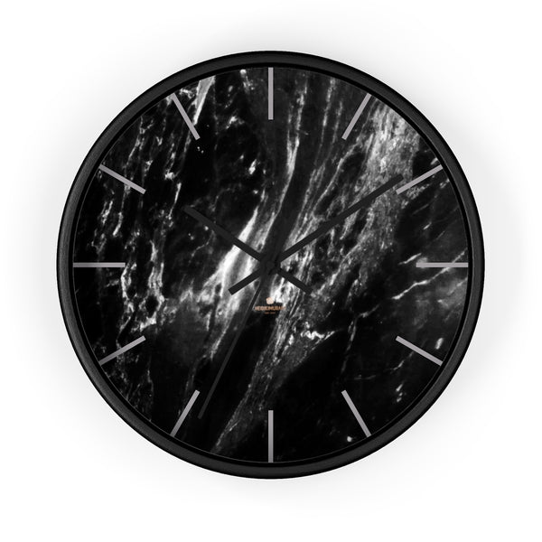 Elegant Black & White Marble Print Art Large Indoor Designer Wall Clock-Made in USA-Wall Clock-10 in-Black-Black-Heidi Kimura Art LLC