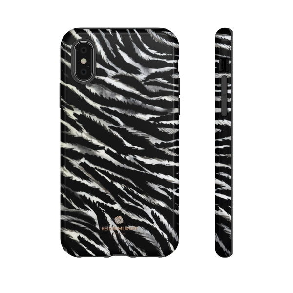 White Tiger Stripe Phone Case, Animal Print Tough Designer Phone Case -Made in USA-Phone Case-Printify-iPhone X-Glossy-Heidi Kimura Art LLC