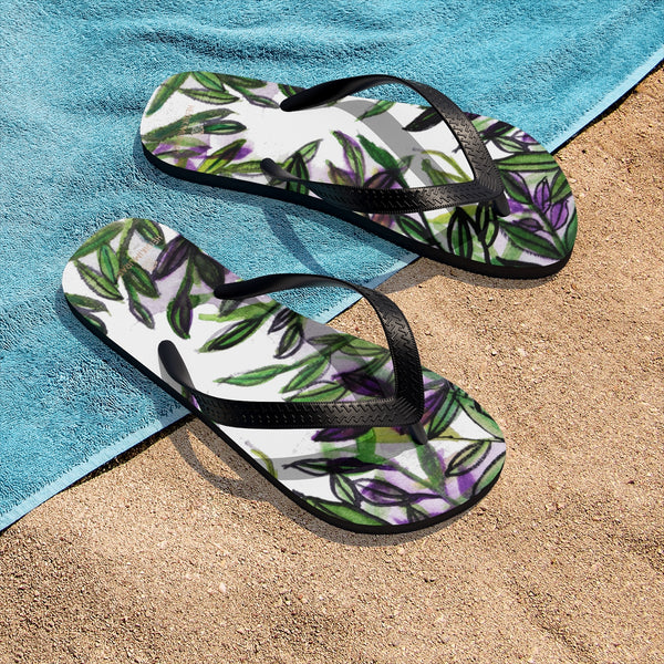 Green Tropical Leaves Print Unisex Designer Flip-Flops - Made in USA (Size: S, M, L)-Flip-Flops-Heidi Kimura Art LLC