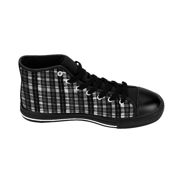 Black White Plaid Tartan Print Men's High-top Sneakers Tennis Shoes, Mens Plaid Shoes-Men's High Top Sneakers-Black-US 9-Heidi Kimura Art LLC