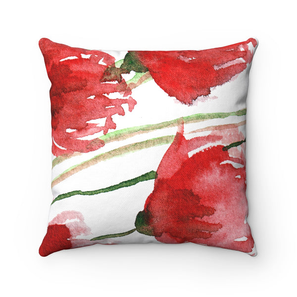 Red Poppy Floral Flower Pattern Spun Polyester Square Pillow Case - Made in USA-Pillow Case Only-14x14-Heidi Kimura Art LLC